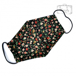 BLACK COTTON PROTECTIVE MASK WITH A PATTERN OF WHITE AND RED FLOWERS
