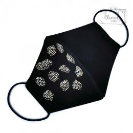 BLACK COTTON PROTECTIVE MASK 11 IRREGULAR SPOTS MADE OF SILVER DIAMENDS