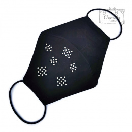 BLACK COTTON PROTECTIVE MASK 6 DIAMOND SQUARES