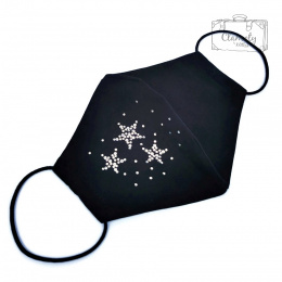 BLACK COTTON PROTECTIVE MASK 3 DIAMOND STARS