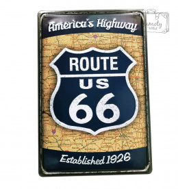 ROUTE 66 AMERICAN HIGHWAY DECORATIVE PLATE