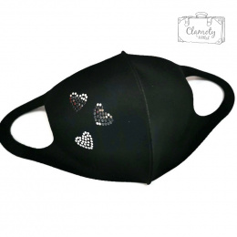 BLACK COTTON PROTECTIVE MASK WITH GOLDEN ROYAL CROWN IN A LAUREL Wreath