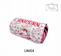 PENCIL CASE SCHOOL UNICORN HORN, DOUBLE BLUE UNICORN
