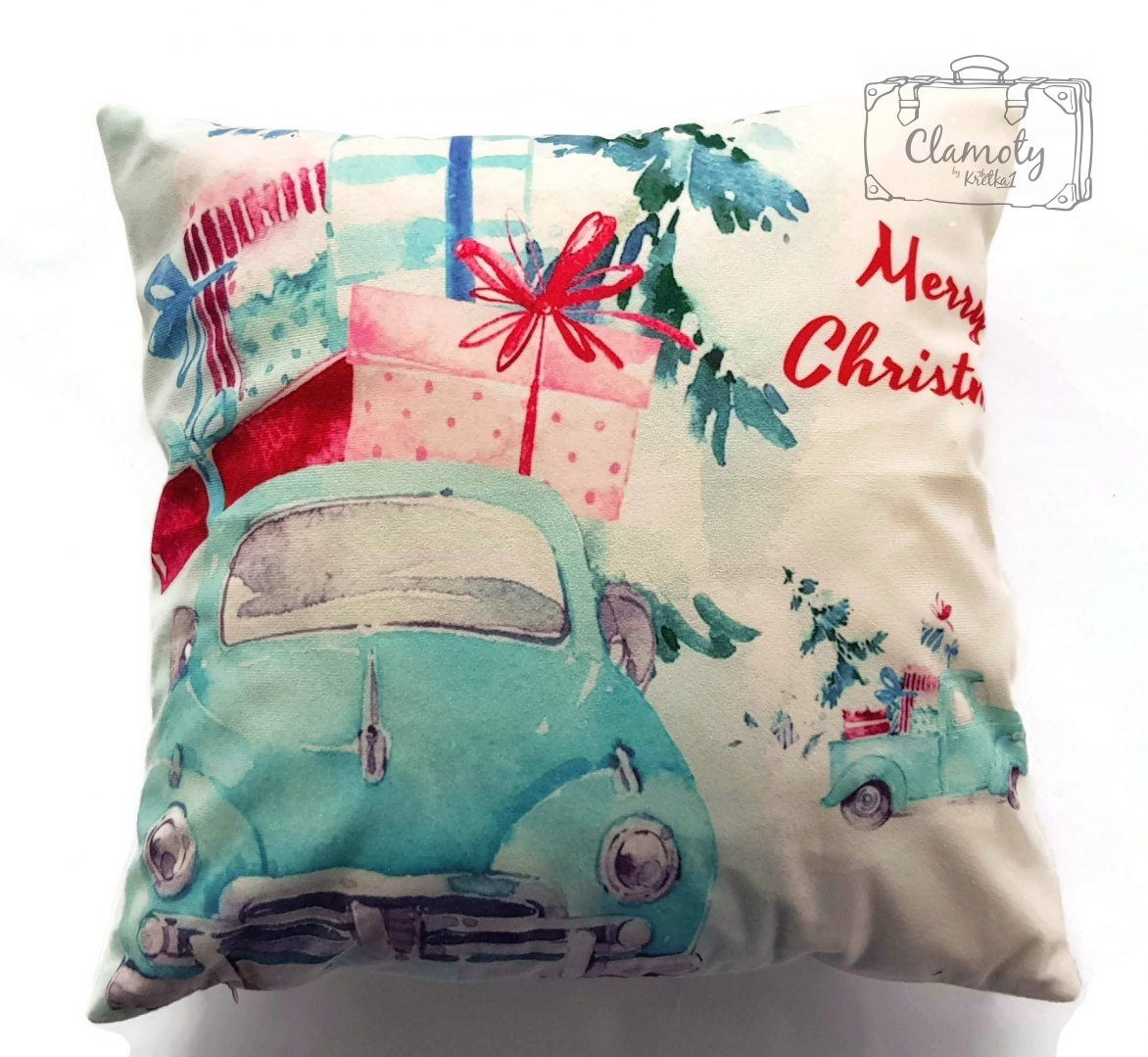CUSHION COVER PILLOW BLUE BEETLE WITH PRESENTS