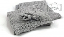 GREY SCARF WITH FLOWER SUPER GIFT