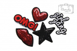 A SET OF PATCHES RED BLACK SUPER GIFT