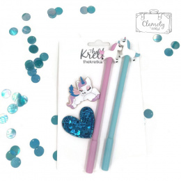 PEN SET UNICORN BADGE AND HEART